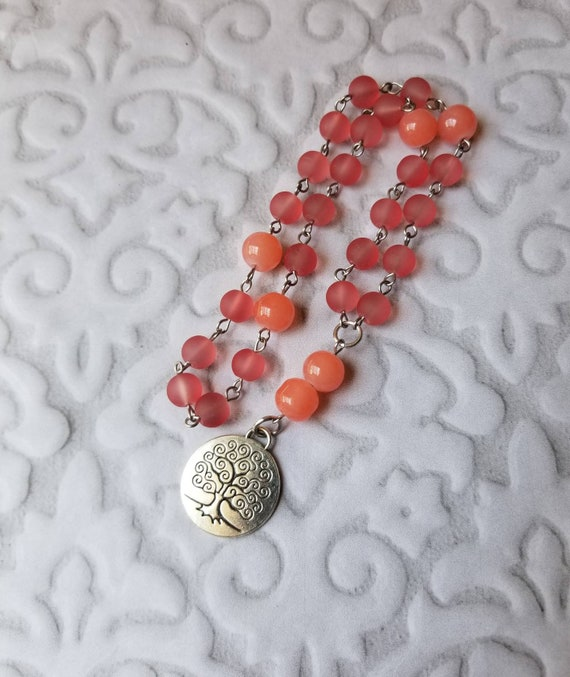 UU Prayer beads, Unitarian universalist prayer beads, stainless, hand wired, coral sea glass, peach Malay Jade, silver toned tree of life