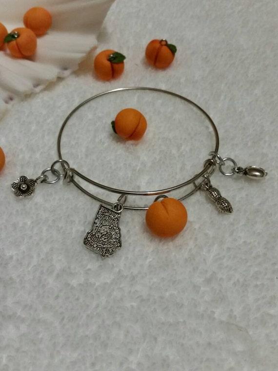 Peach bracelet, silver metal bangle, expandable bangle, charm bracelet, charm bangle, Georgia bracelet, silver metal bangle, Georgia jewelry