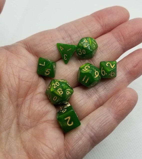 Pearly bright green and gold mini Dnd dice, mini polyhedral gaming dice, DnD dice set, RPG dice, D and D dice, set of 7 DnD dice, 10mm dice