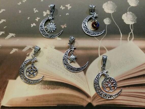 Crescent moon necklace,  celestial  moon necklace, mystic moon pendant, moon necklace, Goddess jewelry, Moon Goddess, crescent moon necklace