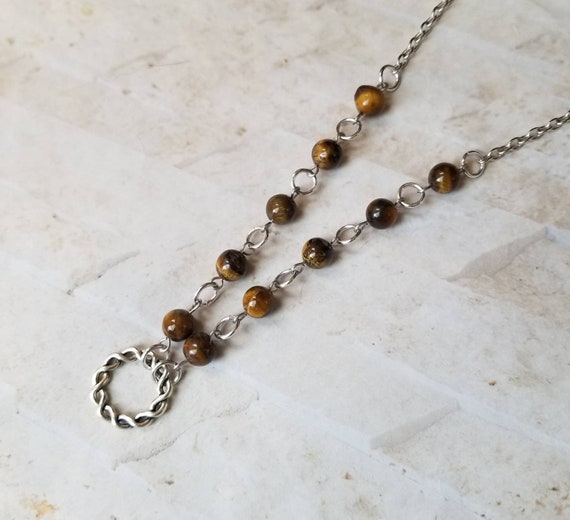 O ring day collar, Tiger's Eye beads, discreet day collar, symbolic jewelry, BDSM collar, submissive collar, stainless, Celtic o ring