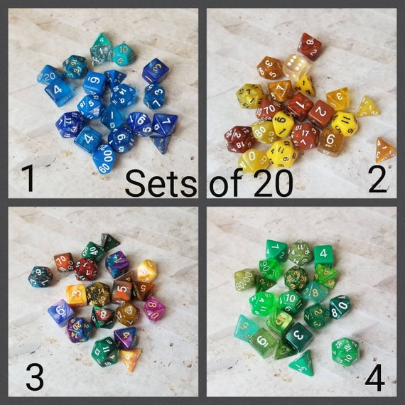 Sets of 20 dnd dice, polyhedral gaming dice, DnD dice set, RPG dice, D and D dice, gaming dice, expanded set of dnd dice