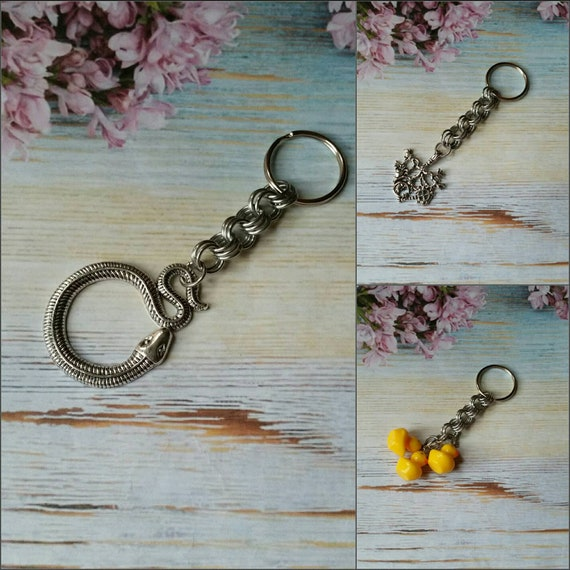 Chain maille keychains, Cimaruta keychain, key fob, Ducky keychain, key ring, snake keychain, silver-toned metal, stainless steel ring, cute