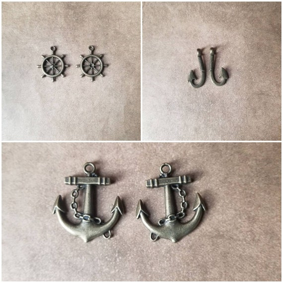 Destash charms, bronze charms, Nautical-themed, bronze toned metal charms, choice of three, fishhook charms, anchor charms, ships wheel