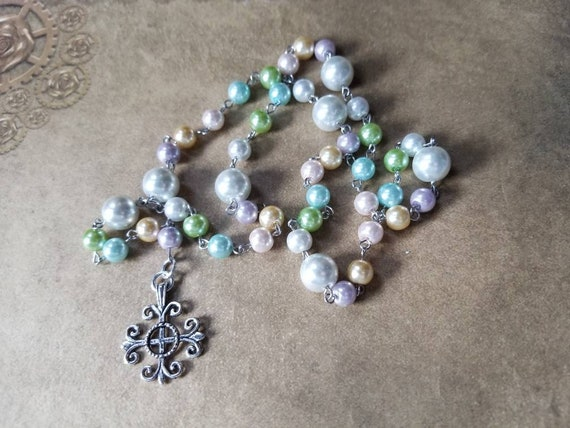 Easter Lutheran prayer beads, Lutheran rosary, stainless steel, hand-wired, glass pearl, Jerusalem cross, pastel colors, Spring colors