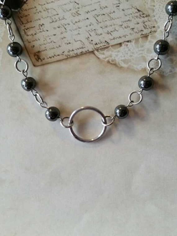 O ring day collar, Hematite beads, discreet day collar, symbolic jewelry, BDSM collar, submissive collar, silver o ring, O ring necklace