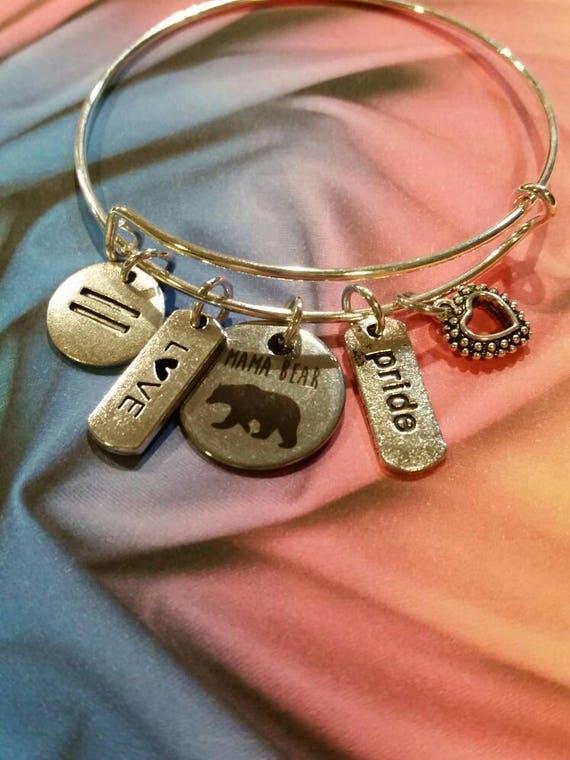 Mama Bear pride bracelet, LGBT pride bangle, expandable bangle, charm bangle, LGBT jewelry, LGBT pride jewelry, rainbow bangle, silver-toned