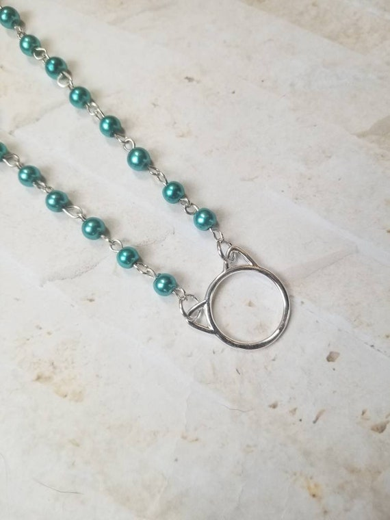 Kitten day collar, discreet day collar, teal glass pearls, BDSM collar, cat ear O ring necklace, cat O ring, kitten O ring collar