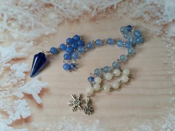 Pagan prayer beads, Winter  prayer beads, stainless steel, Ice and snow prayer beads, Malay jade beads, blue pendulum, snowflake charms