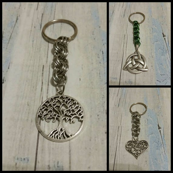 Keychain, silver toned metal keychains, sturdy, chain maille, silver-toned metal Triquetra,  heart, or Tree of life charms