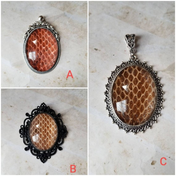 Snake shed jewelry, snake shed pendant, snakeskin necklace, cruelty free snake shed jewelry, Corn snake shed pendant, Corn snake shed skin