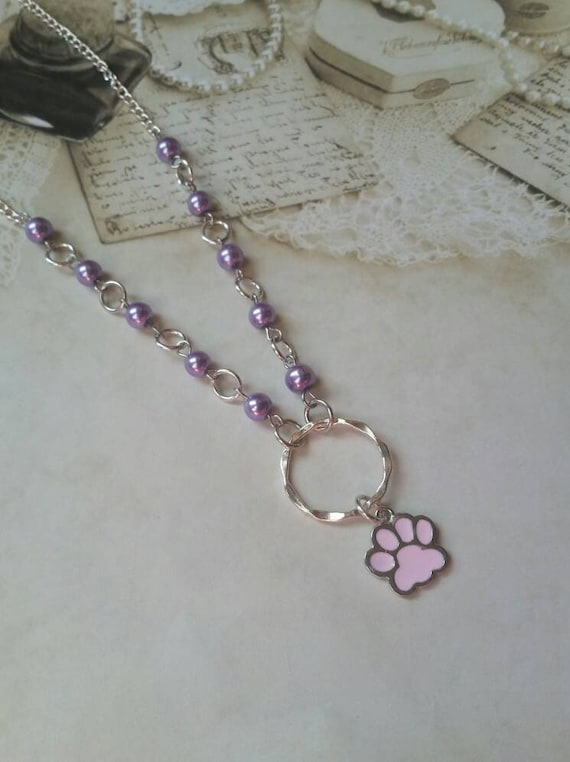 Kitten day collar, discreet day collar, purple glass beads, BDSM collar, O ring necklace, silver day collar, princess collar, pink paw charm