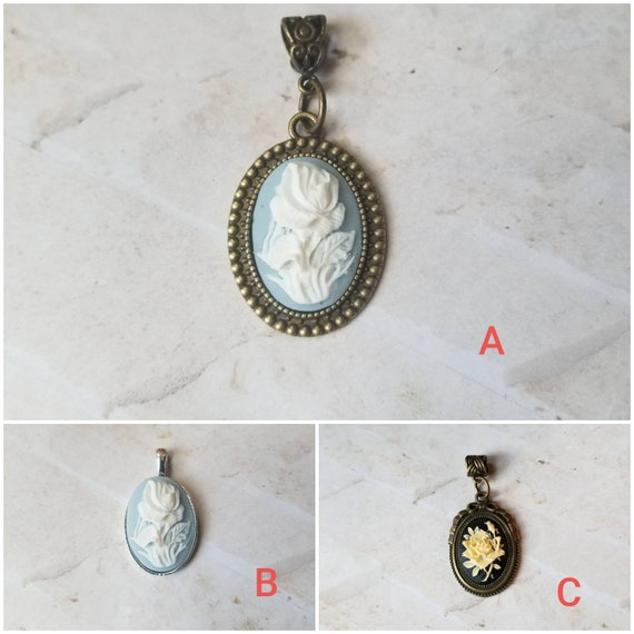 Rose cameo pendant, rose cameo necklace, white rose cameo, Goth cameo necklace, blue rose cameo pendant, floral cameo pendant, cameo jewelry