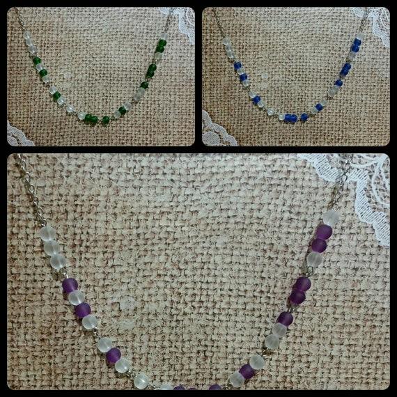 SCREW TRUMP necklace, Screw Trump Morse code necklace, Morse code necklace, silver tone, frosted glass, Anti-Trump jewelry, choice of three