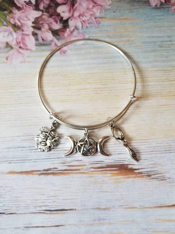 Triple Goddess bracelet, Green Man bangle, Goddess bangle, silver expandable bangle,  Pagan bracelet, Wiccan bangle, charm bracelet