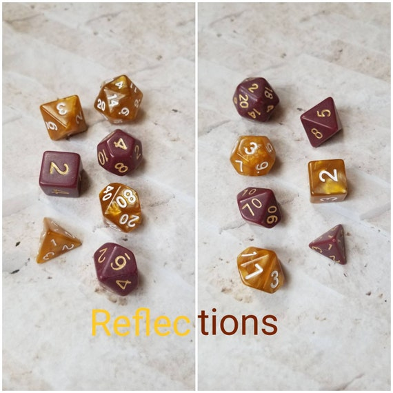 Reflections dnd dice, brown and gold curated dice set, polyhedral dice, DnD dice set, gaming dice, set of 7 dice, hand picked sets, 16mm