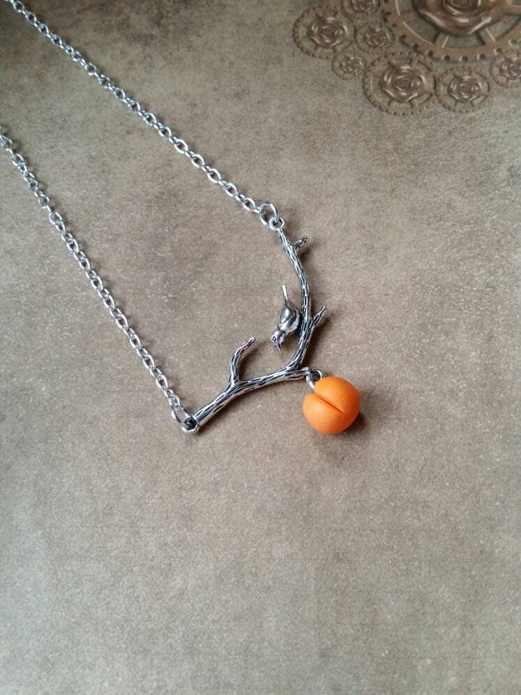 Peach necklace, tree branch connector, silver charm, Georgia