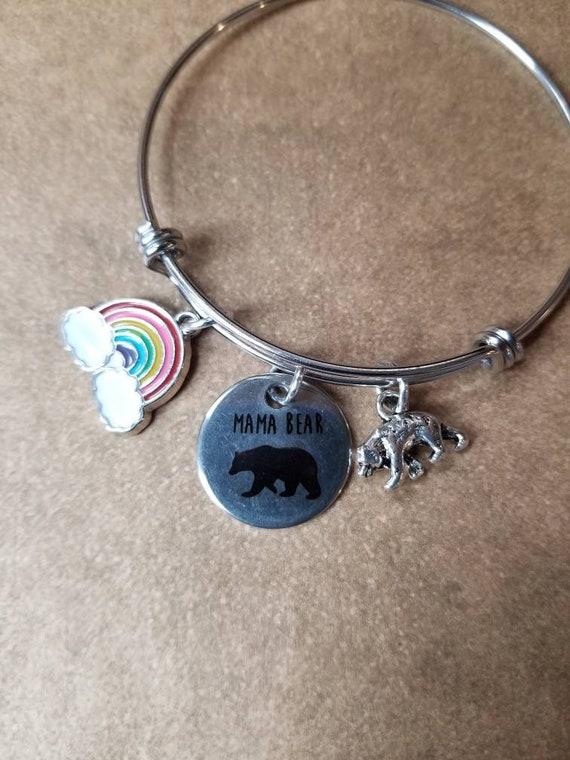 Mama Bear pride bracelet, LGBT pride bangle, expandable bangle, charm bangle, rainbow bangle, silver-toned, stainless steel