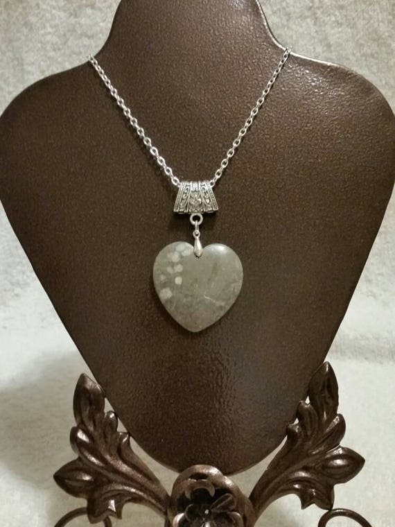 Gray fossil stone pendant, fossil heart necklace, polished gemstone necklace,  fossil jewelry, OOAK jewelry gift, gray polished heart