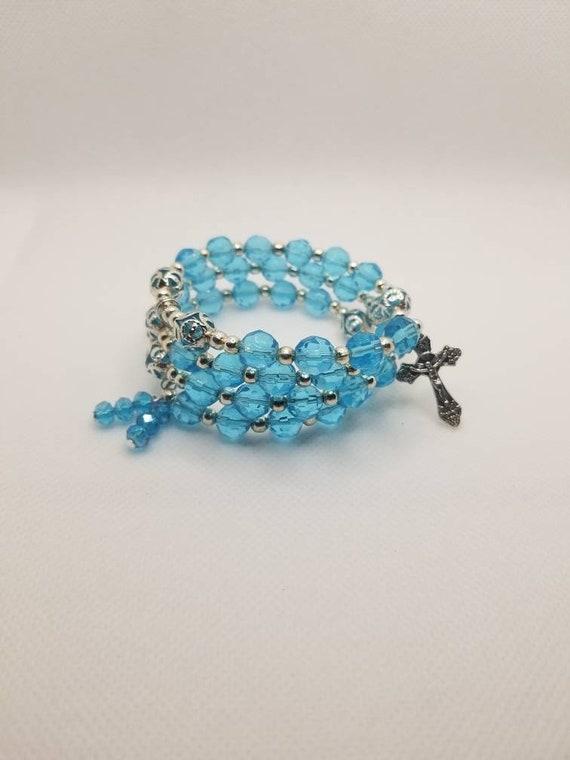 Lutheran rosary bracelet, Lutheran prayer bracelet, memory wire bracelet, wrap bracelet, blue glass beads, silver bead caps, silver crucifix