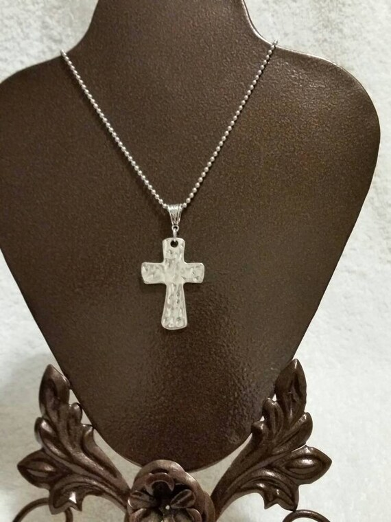 Cross necklace, beautiful hammered-style silver-toned metal cross pendant necklace with fancy jewelry bail and chain, religious