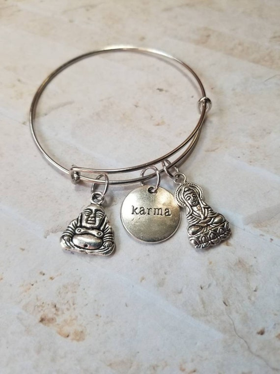 Buddha bangle, Kwan Yin bracelet, silver metal bangle, expandable bangle, charm bracelet, charm bangle, Karma bracelet, bangle bracelet