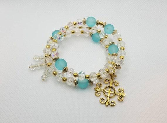 Lutheran rosary bracelet, Lutheran prayer bead bracelet, memory wire bracelet, wrap bracelet, clear crystal beads, blue glass beads, gold