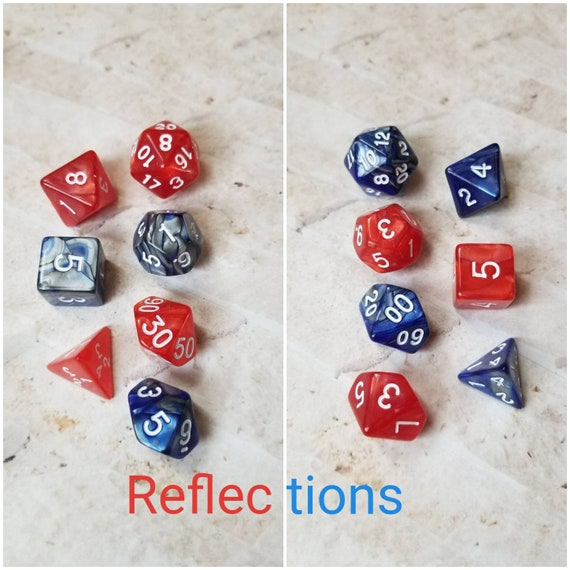 Reflections dnd dice, blue and red curated dice set, polyhedral dice, DnD dice set, gaming dice, set of 7 dice, hand picked sets, 16mm dice