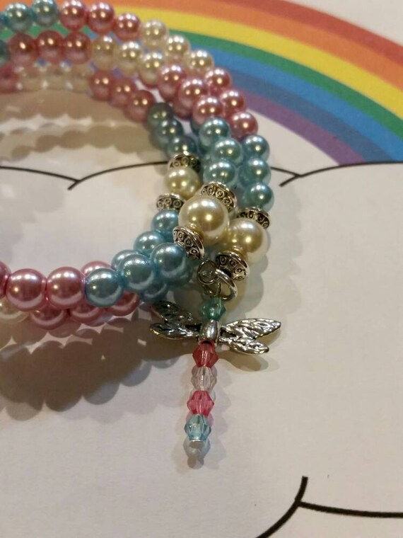 Trans pride bracelet, LGBT pride bracelet, memory wire bracelet, wrap bracelet, beaded bracelet, glass pearl bracelet, Boho, dragonfly