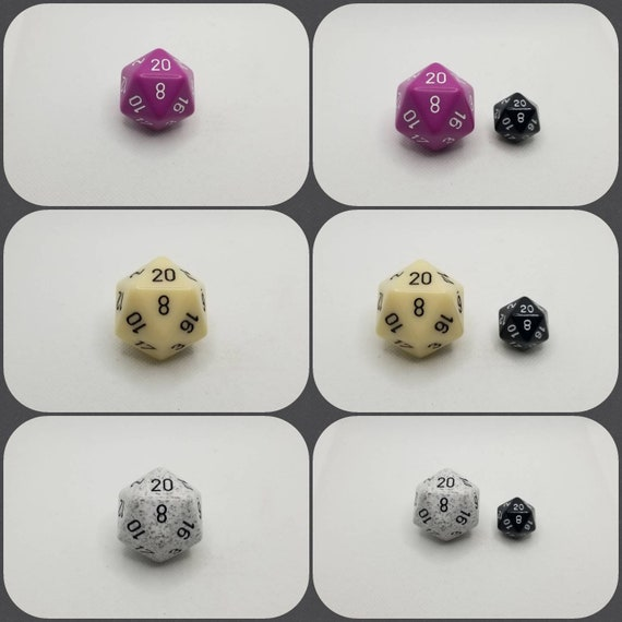 Jumbo d20, 34mm d20, dnd dice, oversized d20, jumbo sized d20, dnd d20, dnd dice, ttrpg dice