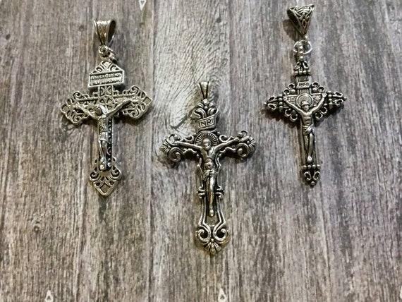 Silver metal crucifix, ornate crucifix, large crucifix pendant, fancy crucifix, religious jewelry, religious necklace,  pardon crucifix