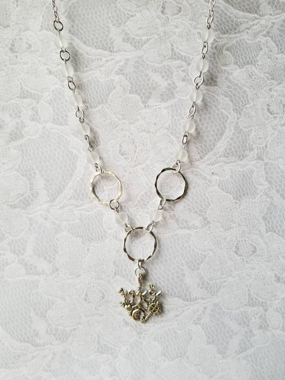 Cimaruta necklace, Cimaruta jewelry, Italian witches amulet, stainless steel pins, clear sea glass beads, silver toned hammered O rings