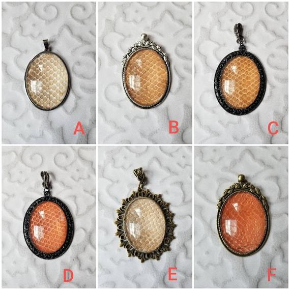 Snake shed jewelry, snake shed pendant, snakeskin necklace, cruelty free snake sheds, Ball python shed, Champagne Ball Python pendant