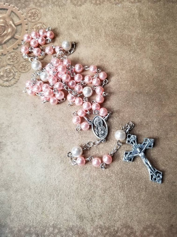 Five decade rosary, silver tone, pink and ivory glass pearls, Sacred Heart center, and beautiful Italian-made crucifix, religious, Catholic