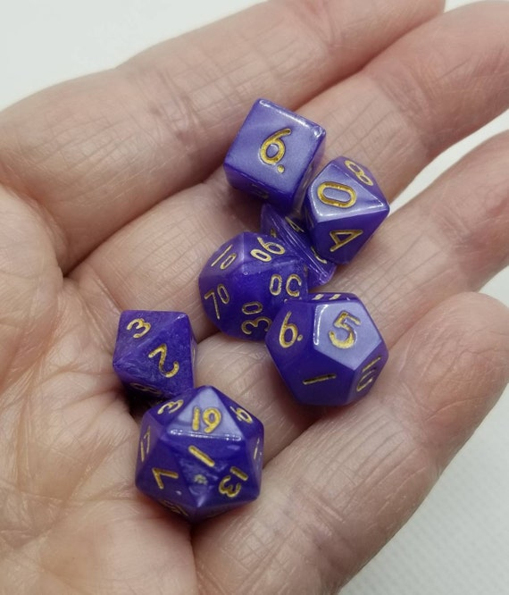 Pearly purple and gold mini Dnd dice, mini polyhedral gaming dice, DnD dice set, RPG dice, D and D dice, set of 7 DnD dice, 10mm dice