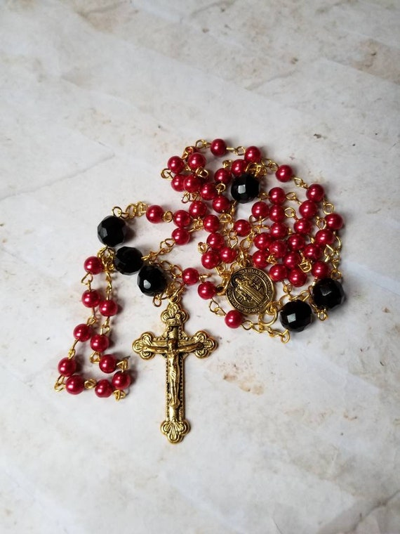 Rosary, beautiful red glass pearls, black Czech glass, gold toned, five decade rosary, St Benedict center, budded crucifix, Catholic rosary