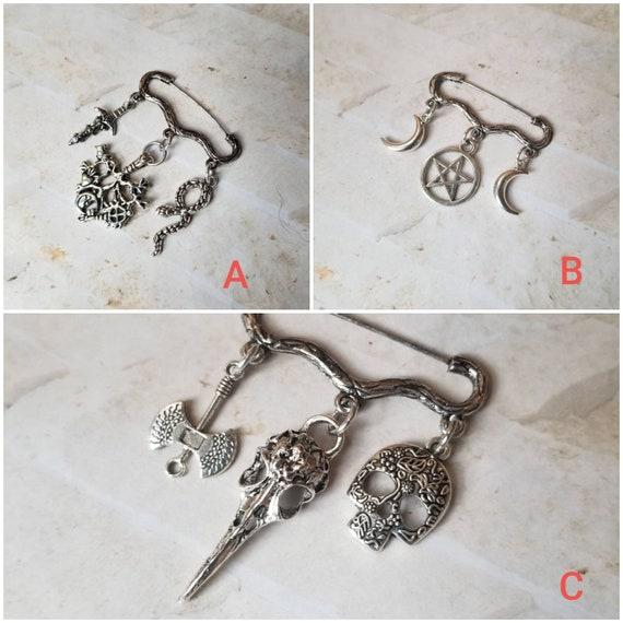 Goth brooch pin, Pagan jewelry,   three charm pin, Spooky jewelry, Triple Goddess pin, Raven skull pin, cosplay jewelry, Goth jewelry