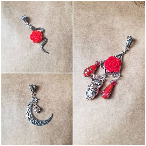 Valentine's day gift, Crescent moon pendant, witch jewelry, snake pendant, anatomical heart jewelry, red rose jewelry, unique gift ideas