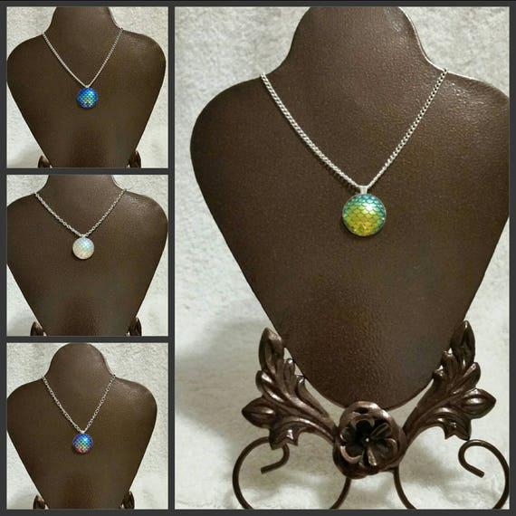 Mermaid scale pendant, dragon scale necklace, mermaid or dragon scale necklace, silver tone, iridescent textured cabochon, fancy bezel cup.