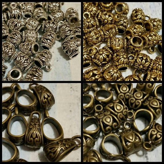Destash, bails, silver, gold, or bronze  toned metal floral jewelry bails x 10 or 20, choice of four