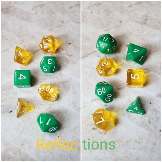 Reflections dnd dice, green and yellow curated dice set, polyhedral dice, DnD dice set, gaming dice, set of 7 dice, hand picked sets, 16mm