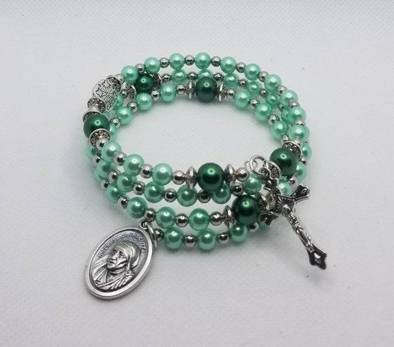 Rosary bracelet, five decade Catholic memory wire wrap bracelet, green glass pearls, silver, St. Mother Teresa  medal, rosary bracelet