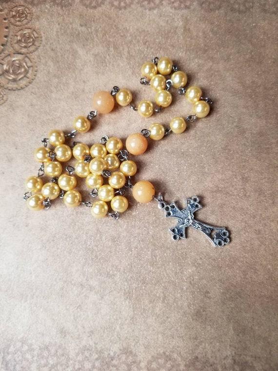 Orthodox Chotki, Orthodox prayer beads, yellow glass pearls, butterscotch colored Malay jade, silver-toned crucifix, hand-wired, Komboskini