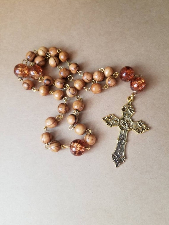 Prayer beads, Anglican, Protestant, Episcopal, Methodist prayer beads, gold cross, Olive wood and brown crackled glass beads, religious