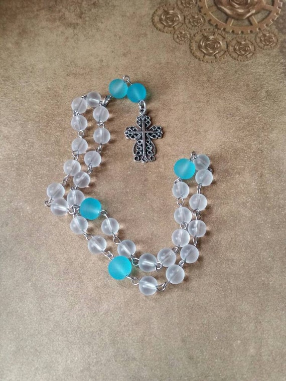 Anglican prayer beads, Methodist rosary, Protestant prayer beads, Episcopal rosary, stainless steel, Winter prayer beads, sea glass, Celtic