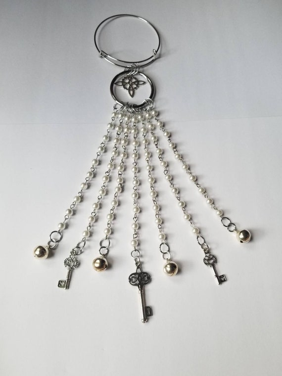Witch bells, silver witch bells, faerie bells, protection bells, witches protection bells, bells for doors, pearl witches bells,