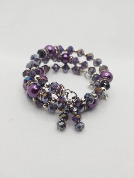 Lutheran rosary bracelet, Lutheran prayer bracelet, memory wire bracelet, wrap bracelet, purple crystal glass beads, budded crucifix silver