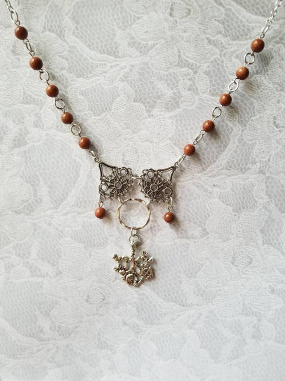 Cimaruta necklace, Cimaruta jewelry, Italian witches amulet, stainless steel pins, Goldstone gemstone beads, silver floral connectors