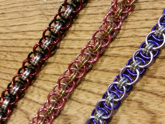 Chain maille bracelet, Helm's or Parallel weave, Helms weave bracelet, colors, Helm Weave chainmaille bracelet, Custom chain maille, smaller