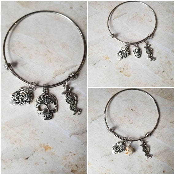 Day of the Dead bracelet, Dia de Los Muertos bangle, expandable bangle, charm bangle, sugar skull bangle, silver-toned, stainless steel